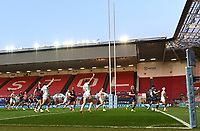 23rd April 2021; Ashton Gate Stadium, Bristol, England; Premiership Rugby Union, Bristol Bears versus Exeter Chiefs; Exeter Chiefs celebrate Tom O'Flaherty's try