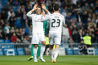 Real Madrid´s Isco celebrates a goal with Chicharito (L) during Spanish King Cup match between Real Madrid and Cornella at Santiago Bernabeu stadium in Madrid, Spain.December 2, 2014. (NortePhoto/ALTERPHOTOS/Victor Blanco)