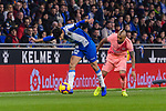 Didac Vila of RCD Espanyol (L) fights for the ball with Didac Vila of RCD Espanyol (L) fights for the ball with Arturo Vidal of FC Barcelona (R) during the La Liga 2018-19 match between RDC Espanyol and FC Barcelona at Camp Nou on 08 December 2018 in Barcelona, Spain. Photo by Vicens Gimenez / Power Sport Images