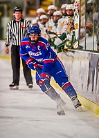 19 January 2018: University of Massachusetts Lowell Riverhawks Defenseman and Team Captain Tyler Mueller, a Senior from Regina, Sask., in first period action against the University of Vermont Catamounts at Gutterson Fieldhouse in Burlington, Vermont. The Riverhawks rallied to defeat the Catamounts 3-2 in overtime of their Hockey East matchup. Mandatory Credit: Ed Wolfstein Photo *** RAW (NEF) Image File Available ***