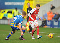 Fleetwood Town's James Husband under pressure from Shrewsbury Town's Greg Docherty<br /> <br /> Photographer Kevin Barnes/CameraSport<br /> <br /> The EFL Sky Bet League One - Shrewsbury Town v Fleetwood Town - Tuesday 1st January 2019 - New Meadow - Shrewsbury<br /> <br /> World Copyright © 2019 CameraSport. All rights reserved. 43 Linden Ave. Countesthorpe. Leicester. England. LE8 5PG - Tel: +44 (0) 116 277 4147 - admin@camerasport.com - www.camerasport.com