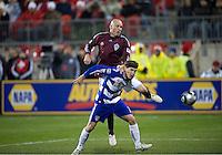 21 November 2010: Colorado Rapids forward Conor Casey #9 and FC Dallas defender Zach Loyd #19 in action during the 2010 MLS CUP between the Colorado Rapids and FC Dallas at BMO Field in Toronto, Ontario Canada..The Colorado Rapids won 2-1 in extra time....