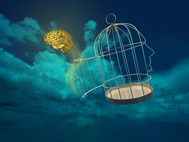 Brain escaping from floating bird cage