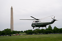 Marine One, carrying U.S. President Joe Biden and First Lady Jill Biden takes off from the Ellipse of the White House in Washington, D.C., U.S., on Monday, May 3, 2021. Biden's $4 trillion vision of remaking the federal government's role in the U.S. economy is now in the hands of Congress, where both parties see a higher chance of at least some compromise than for the administration's pandemic-relief bill. <br /> Credit: Erin Scott / Pool via CNP /MediaPunch