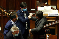 Italian Minister of Health Roberto Speranza and Italian Minister of European AffairsVincenzo Amendola give the elbow to greet each other during the Premier speech about the European Council at the Chamber of Deputies. Rome (Italy), July 22nd 2020<br /> Foto Samantha Zucchi Insidefoto