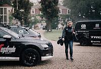 Trek-Segafredo press officer Elke Weylandt comfortable in the rain<br /> <br /> 104th Tour de France 2017<br /> Stage 10 - Périgueux › Bergerac (178km)