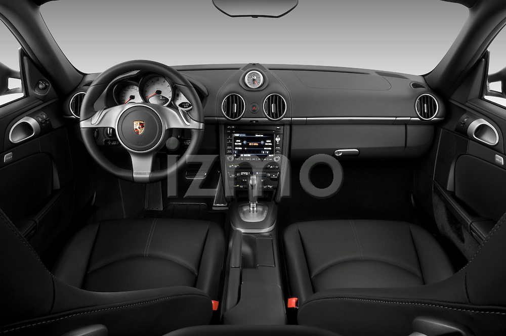 Straight dashboard view of a 2009 Porsche Cayman S.