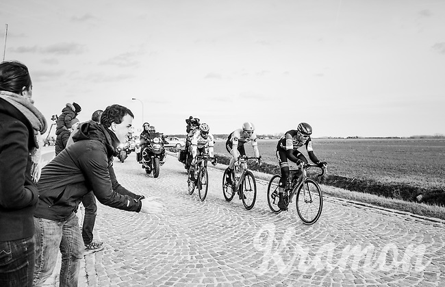 race leaders Greg Van Avermaet (BEL/BMC), Sep Vanmarcke (BEL/Cannondale-Drapac) & Peter Sagan (SVK/Bora-Hansgrohe) racing for the podium over the last cobbles of the day: those of the Lange Munte<br /> <br /> 72nd Omloop Het Nieuwsblad 2017