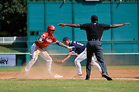 Jordan Lawlar (11) signals safe along with the umpire as third baseman Cody Schrier (8) attempts to tag during the Baseball Factory All-Star Classic at Dr. Pepper Ballpark on October 4, 2020 in Frisco, Texas.  Jordan Lawlar (11), a resident of Irving, Texas, attends Jesuit College Preparatory School of Dallas.  (Mike Augustin/Four Seam Images)
