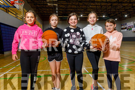 Lily Hicks, Lily Mai Mullins, Dionne, Roisin and Madison Rogers ready to hit the hoops the Sports Camp at the Tralee Sports Complex on Monday.