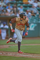 Antonio Pinero (3) of the Rocky Mountain Vibes hustles to first base against the Ogden Raptors at Lindquist Field on July 6, 2019 in Ogden, Utah. The Vibes defeated the Raptors 7-2. (Stephen Smith/Four Seam Images)