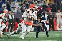 FOXBOROUGH, MA - OCTOBER 27: Cleveland Browns Quarterback Baker Mayfield #6 prepares to pass as Cleveland Browns Runningback Nick Chubb #24 blocks New England Patriots Linebacker Jamie Collins #58 during a game between Cleveland Browns and New Enlgand Patriots at Gillettes on October 27, 2019 in Foxborough, Massachusetts.