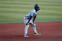 Kyle Battle (16) of the Old Dominion Monarchs takes his lead off of second base against the Charlotte 49ers at Hayes Stadium on April 23, 2021 in Charlotte, North Carolina. (Brian Westerholt/Four Seam Images)