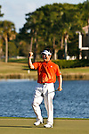 PALM BEACH GARDENS, FL. - Y.E. Yang pumps his fist after winning  the 2009 Honda Classic - PGA National Resort and Spa in Palm Beach Gardens, FL. on March 8, 2009.