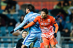 Jeju United FC Forward Hwang Ilsu (R) in action against Jiangsu FC Defender Hong Jeongho (L) during the AFC Champions League 2017 Group H match between Jeju United FC (KOR) vs Jiangsu FC (CHN) at the Jeju World Cup Stadium on 22 February 2017 in Jeju, South Korea. Photo by Marcio Rodrigo Machado / Power Sport Images