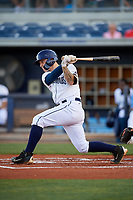 Charlotte Stone Crabs first baseman Robbie Tenerowicz (1) follows through on a swing during a game against the Palm Beach Cardinals on April 20, 2018 at Charlotte Sports Park in Port Charlotte, Florida.  Charlotte defeated Palm Beach 4-3.  (Mike Janes/Four Seam Images)