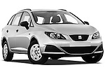 Low aggressive passenger side front three quarter view of 2010 Seat Ibiza ST 5 Door Wagon Stock Photo