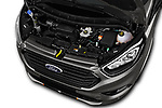 Car stock 2018 Ford Tourneo Custom Sport 5 Door Passenger Van engine high angle detail view