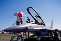 US Air Force General Dynamics F-16 Fighting Falcon (aka Viper) on Static Display - at Abbotsford International Airshow, BC, British Columbia, Canada