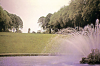 Scenic view of Vaux-le-Vicomte Chateau grounds with fountain. Maincy, France