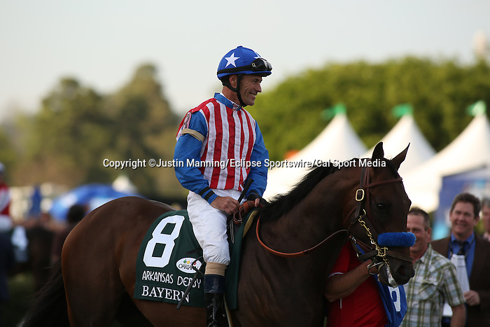 April 12, 2014: #8 Bayern with jockey Gary Stevens aboard before the running of the Arkansas Derby at Oaklawn Park in Hot Springs, AR. Justin Manning/ESW/CSM