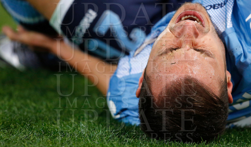 Calcio, Serie A: Lazio vs Juventus. Roma, stadio Olimpico, 4 dicembre 2015.<br /> Lazio's Stefan Radu reacts after getting injured during the Italian Serie A football match between Lazio and Juventus at Rome's Olympic stadium, 4 December 2015.<br /> UPDATE IMAGES PRESS/Riccardo De Luca
