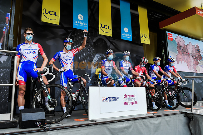 Groupama-FDJ at the Team Presentation before the start of Stage 1 of Criterium du Dauphine 2020, running 218.5km from Clermont-Ferrand to Saint-Christo-en-Jarez, France. 12th August 2020.<br /> Picture: ASO/Alex Broadway | Cyclefile<br /> All photos usage must carry mandatory copyright credit (© Cyclefile | ASO/Alex Broadway)