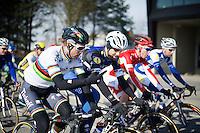 Peter Sagan (SVK/Tinkoff) & Tom Boonen (BEL/Etixx-QuickStep) chatting along<br /> <br /> Kuurne-Brussel-Kuurne 2016