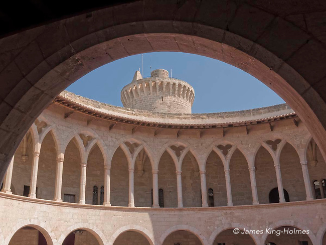 The circular gallery and the donjon or tower of Bellver Castle in Palma de Mallorca. The circular castle was built in the 14th century and iss one of the few circular castles in Europe.