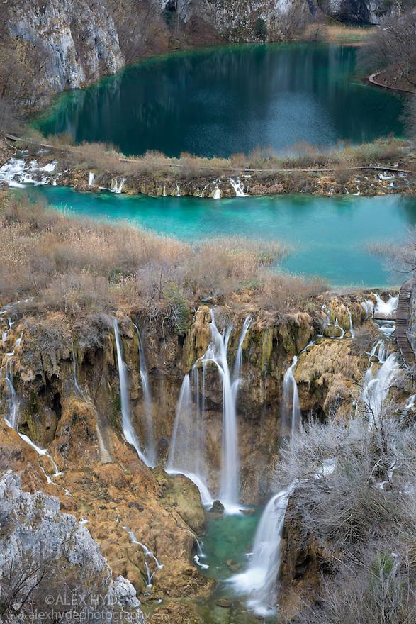 View up Korana Gorge, Plitvice Lakes National Park, Croatia. January.