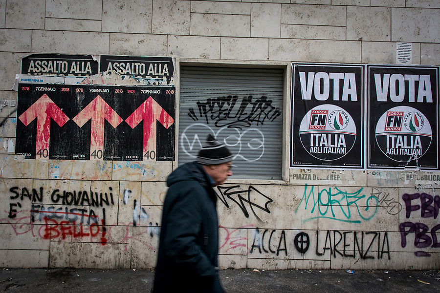 Fascist manifests and writings in the Roman San Giovanni neighbourhood.