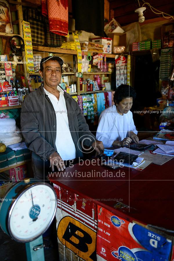 MADAGASCAR , Vohilava, shop of chinese businessman / MADAGASKAR Mananjary, Vohilava, Laden von ERNEST WAI und seine Frau MAMY ELIANE, chinesisch-madagassische Geschaeftsleute, sie kaufen auch Gold an