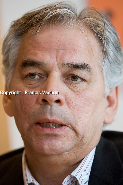 Ghislain Picard, regional chief of Quebec and Labrador First Nations, speaks to the media in a press conference April 16, 2008 in Quebec City. Picard explains the details of the mission to the UN.<br /> <br /> PHOTO :  Francis Vachon - Agence Quebec Presse
