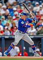 7 March 2019: New York Mets outfielder Brandon Nimmo at bat during a Spring Training Game against the Washington Nationals at the Ballpark of the Palm Beaches in West Palm Beach, Florida. The Nationals defeated the visiting Mets 6-4 in Grapefruit League, pre-season play. Mandatory Credit: Ed Wolfstein Photo *** RAW (NEF) Image File Available ***