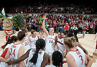STANFORD, CA - March 3, 2010: Stanford Cardinal's Kayla Pedersen and team during Stanford's 75-51 win over the University of California at Maples Pavilion in Stanford, California.