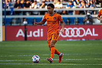 SAN JOSE, CA - JULY 24: Memo Rodriguez #8 of the Houston Dynamo dribbles the ball during a game between San Jose Earthquakes and Houston Dynamo at PayPal Park on July 24, 2021 in San Jose, California.