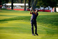 3rd July 2021, Detroit, MI, USA;  Phil Mickelson hits a shot from the first fairway on July 3, 2021 during the Rocket Mortgage Classic at the Detroit Golf Club in Detroit, Michigan.