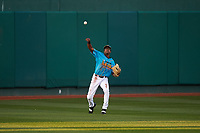 Lansing Lugnuts center fielder Reggie Pruitt (5) during a Midwest League game against the Beloit Snappers at Cooley Law School Stadium on May 4, 2019 in Lansing, Michigan. The Lugnuts wore their Copa de la Diversión jerseys, becoming the Lansing Locos for the evening. Beloit defeated Lansing 2-1. (Zachary Lucy/Four Seam Images)