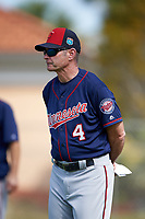 Minnesota Twins manager Paul Molitor (4) during a Spring Training practice on March 1, 2016 at Hammond Stadium in Fort Myers, Florida.  (Mike Janes/Four Seam Images)