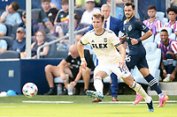 KANSAS CITY, KS - JUNE 26: Danny Musovski #16 Los Angeles FC with the ball during a game between Los Angeles FC and Sporting Kansas City at Children's Mercy Park on June 26, 2021 in Kansas City, Kansas.