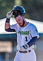 19 June 2018: Vermont Lake Monsters outfielder Payton Squier removes his batting helmet after hitting a solo home run in the 2nd inning against the Connecticut Tigers at Centennial Field in Burlington, Vermont. The Lake Monsters defeated the Tigers 5-4 in the conclusion of a rain-postponed Lake Monsters Opening Day game started June 18. Mandatory Credit: Ed Wolfstein Photo *** RAW (NEF) Image File Available ***