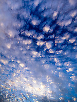 Spotted clouds texture the morning sky above Kailua-Kona, Big Island.