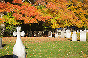 Saint Mary's Cemetery in Portsmouth, New Hampshire USA during the autumn months.