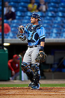 Charlotte Stone Crabs catcher Nick Ciuffo (14) during a game against the Clearwater Threshers on April 12, 2016 at Bright House Field in Clearwater, Florida.  Charlotte defeated Clearwater 2-1.  (Mike Janes/Four Seam Images)