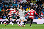 Mateo Kovacic (c) of Real Madrid competes for the ball with Mikel San Jose Dominguez, Aymeric Laporte and Mikel Rico of Athletic Club during their La Liga match between Real Madrid and Athletic Club at the Santiago Bernabeu Stadium on 23 October 2016 in Madrid, Spain. Photo by Diego Gonzalez Souto / Power Sport Images