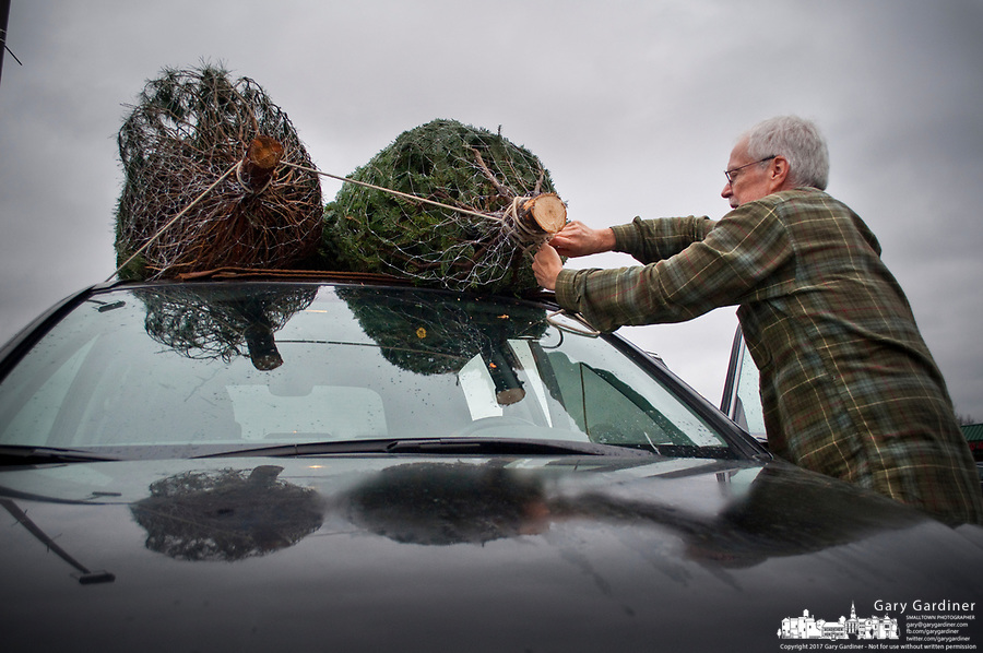 John Adams ties two Christmas trees to the top of his car for the ride to his house and the home of his daughter.