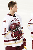 Zach Walker (BC - 14) - The visiting Merrimack College Warriors defeated the Boston College Eagles 6 - 3 (EN) on Friday, February 10, 2017, at Kelley Rink in Conte Forum in Chestnut Hill, Massachusetts.