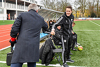 OHL's head coach Jimmy Coenraets pictured greeting Head Coach Leo Van Der Elst (Brugge) during a female soccer game between Club Brugge Dames YLA and Oud Heverlee Leuven on the 8 th matchday of the 2020 - 2021 season of Belgian Scooore Womens Super League , saturday 21 th November 2020  in Knokke , Belgium . PHOTO SPORTPIX.BE | SPP | DAVID CATRY