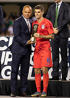 CHICAGO, IL - JULY 7: Christian Pulisic #10 receives the Concacaf Gold Cup Young Player Award during a game between Mexico and USMNT at Soldier Field on July 7, 2019 in Chicago, Illinois.