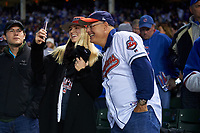 Cleveland Indians fans take a selfie before Game 5 of the Major League Baseball World Series against the Chicago Cubs on October 30, 2016 at Wrigley Field in Chicago, Illinois.  (Mike Janes/Four Seam Images)